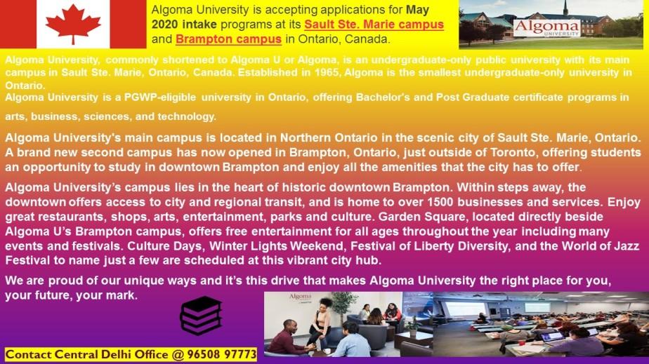 Algoma University, Ontario Open for May 2020,Canada