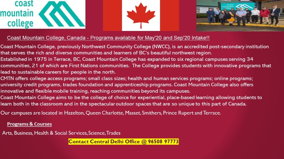 Coast Mountain College– Programs available for May'20and Sep'20Intake!!