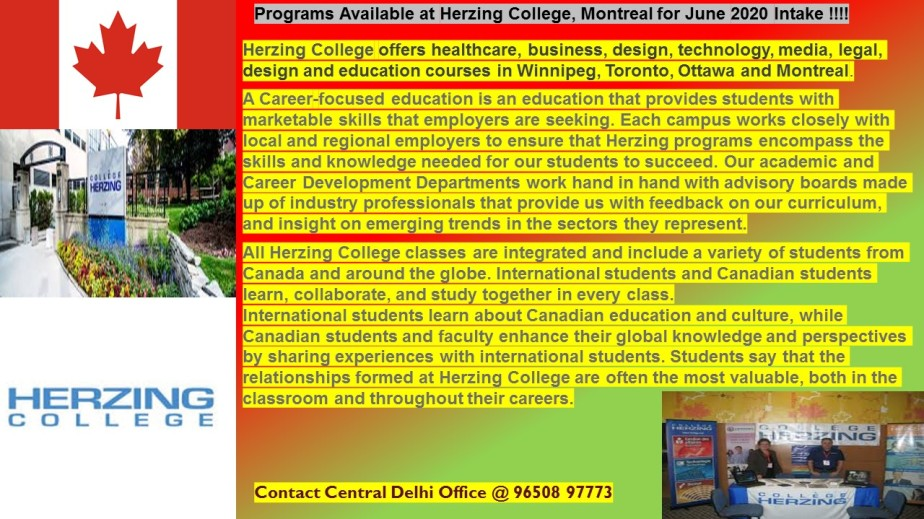 Herzing College, Montreal Open for June 2020Intake!!